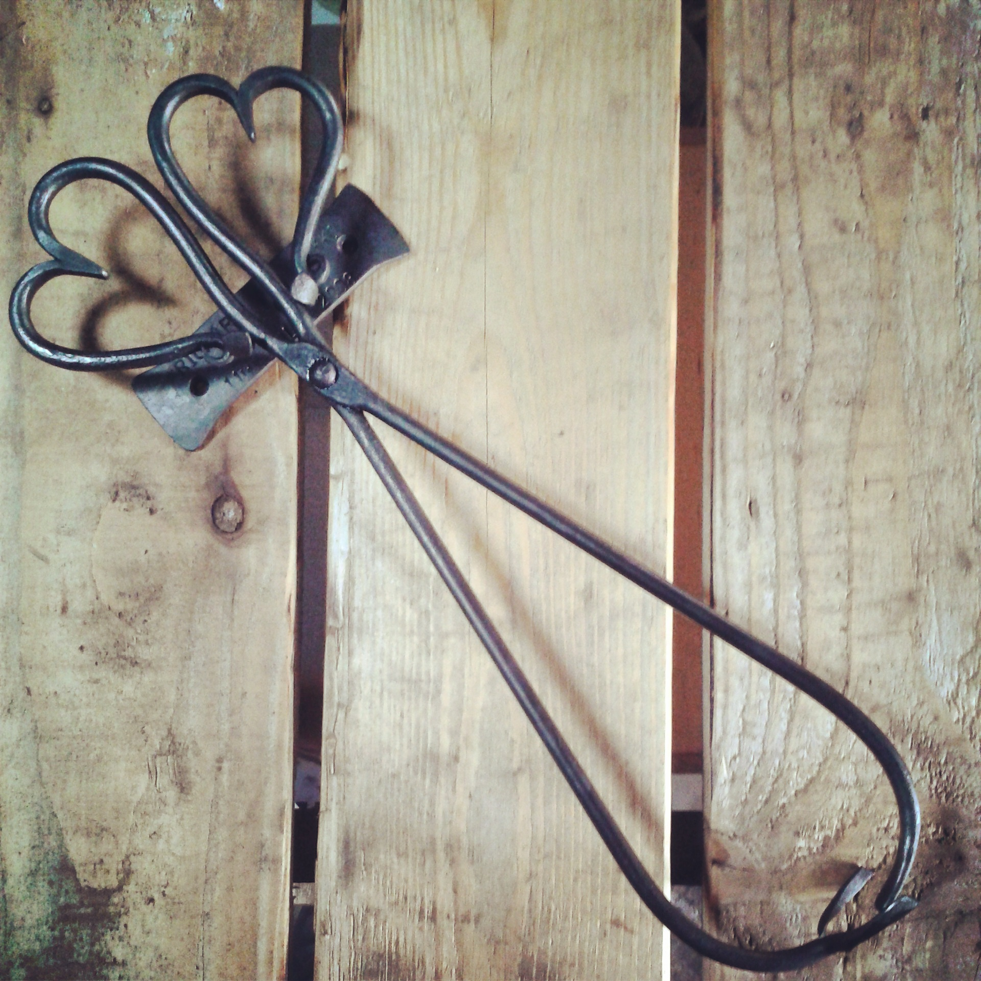 Fire tongs in the Malham Smithy heart design