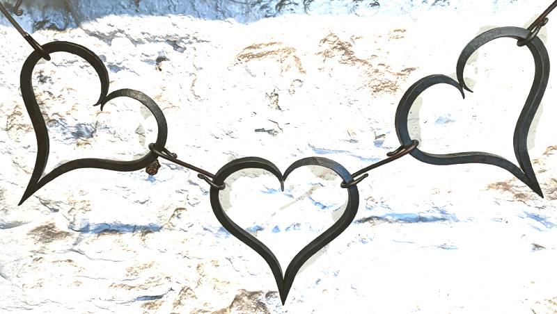 Hand forged heart bunting from the Malham Smithy