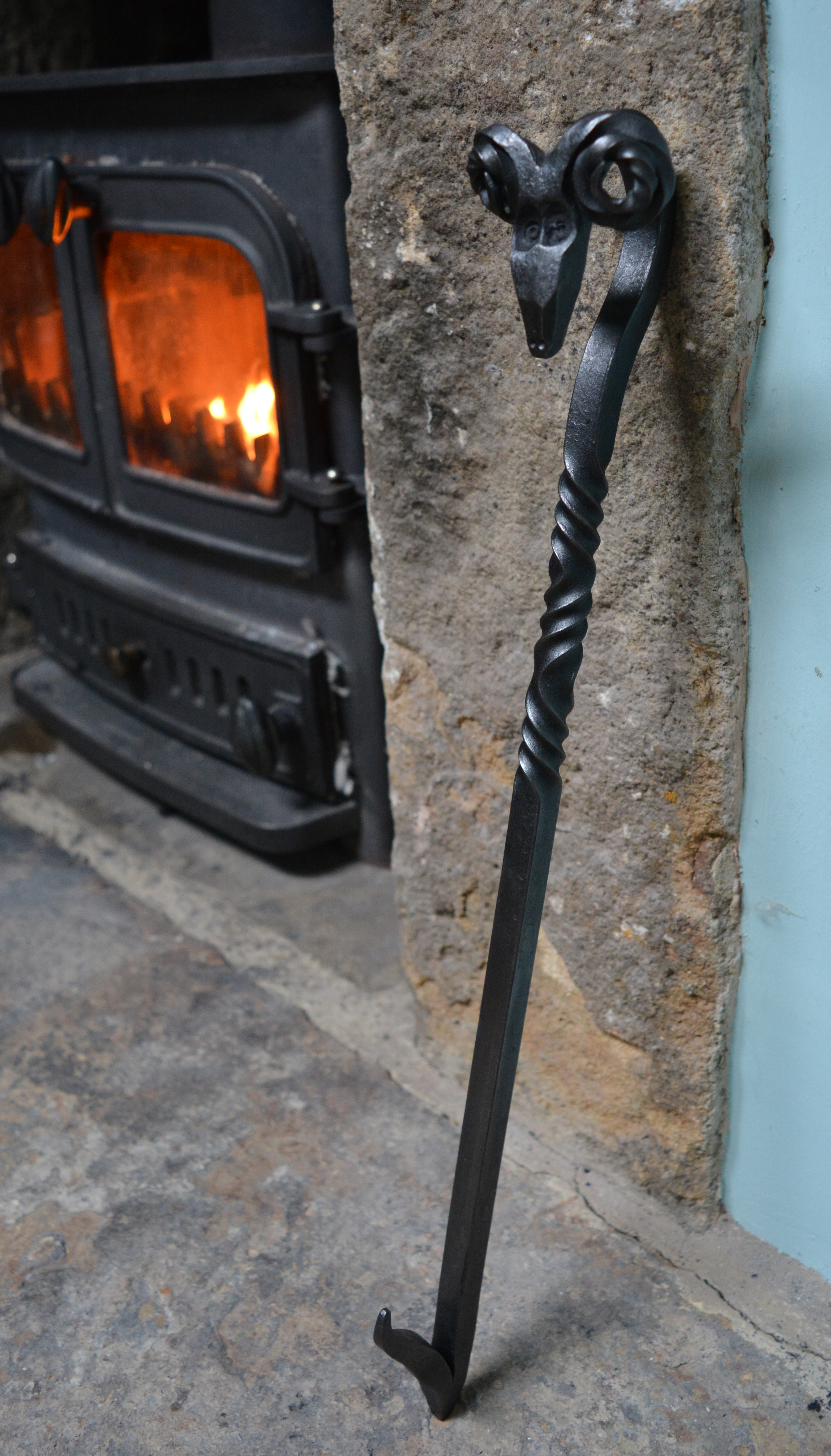 Rams head fire tools blacksmith forged at the Malham Smithy