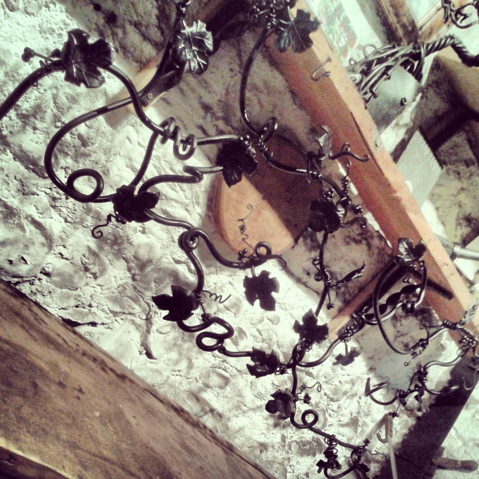 Bespoke bryony vine hat rack, hand forged commission from the Malham Smithy