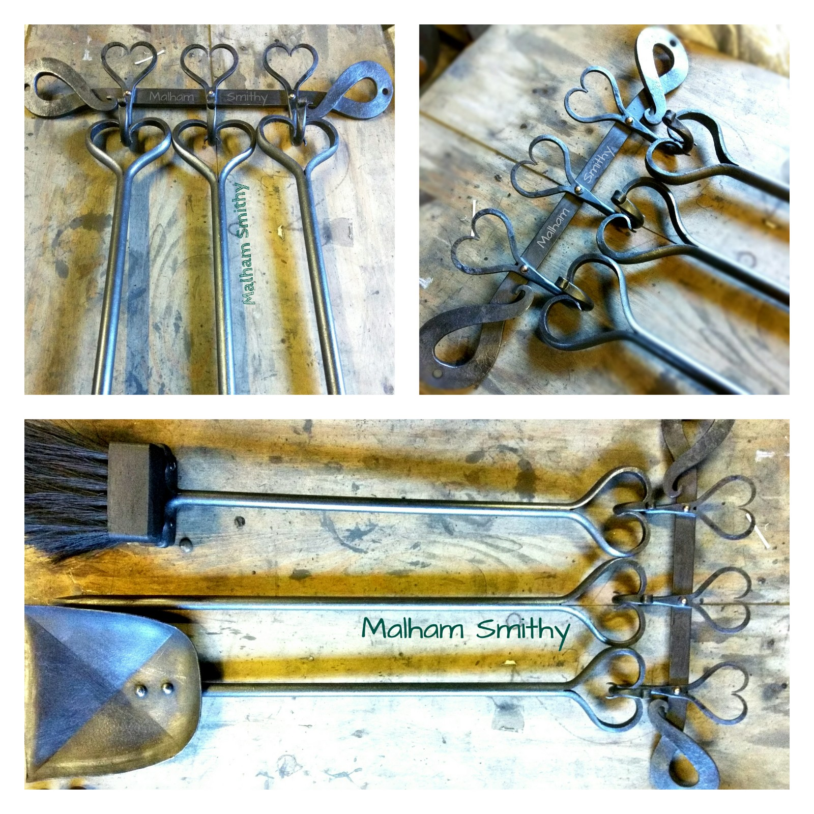 Heart design fire tools on a heart hook wall rack from the Malham Smithy