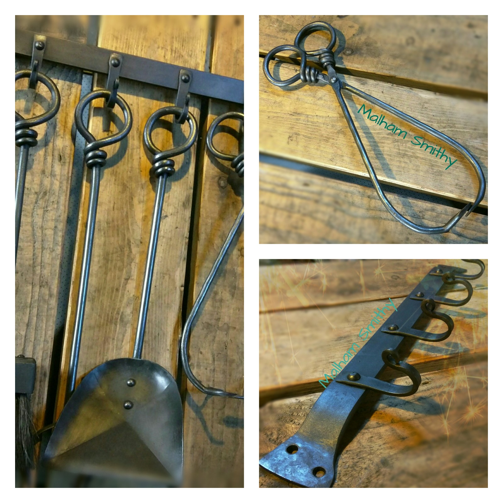 Rat's tail wrap fire tools from the Malham Smithy Blacksmiths